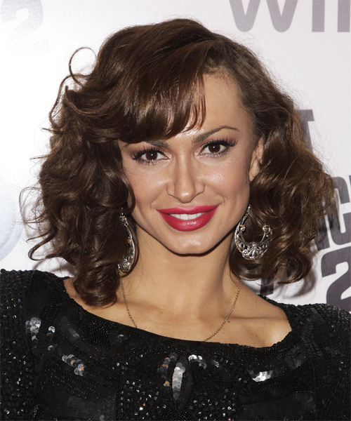 Karina  Smirnoff Medium Curly Formal    Hairstyle   - Dark Chocolate Brunette Hair Color