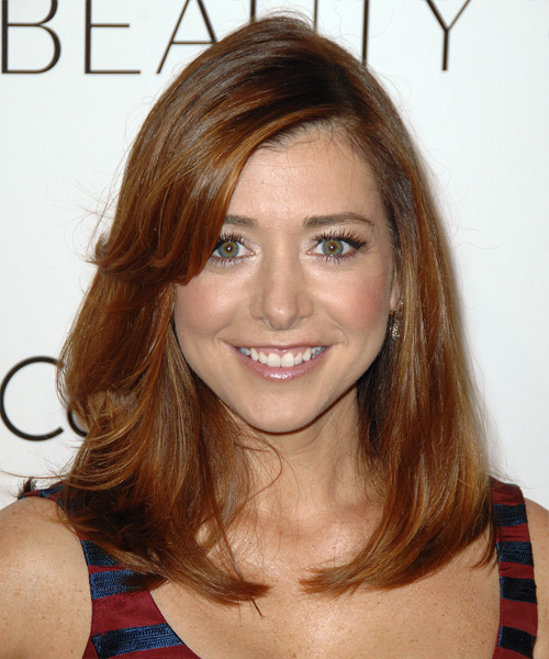 Alyson Hannigan Medium Straight Casual    Hairstyle with Side Swept Bangs  - Auburn Hair Color