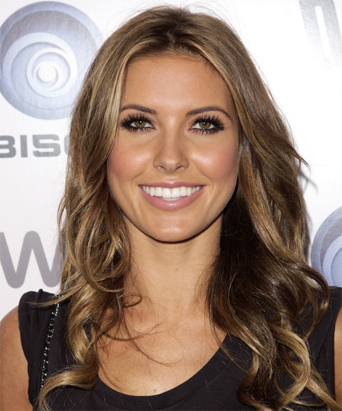 Audrina Patridge Long Wavy Formal    Hairstyle   -  Caramel Brunette Hair Color
