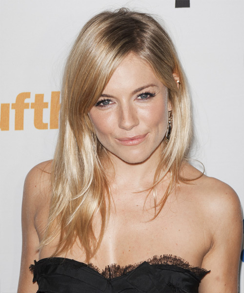 Sienna Miller Long Straight Formal    Hairstyle   -  Golden Blonde and Light Blonde Two-Tone Hair Color