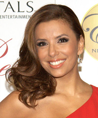 Eva Longoria Parker Long Wavy Formal    Hairstyle   - Light Caramel Brunette Hair Color