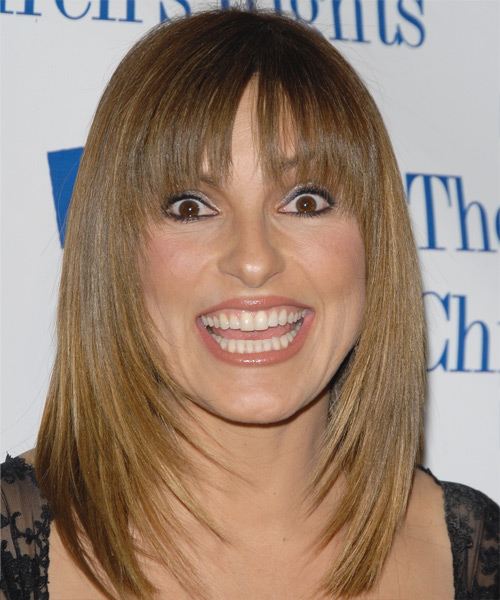 Mariska Hargitay Medium Straight Formal   Hairstyle with Layered Bangs  - Light Brunette