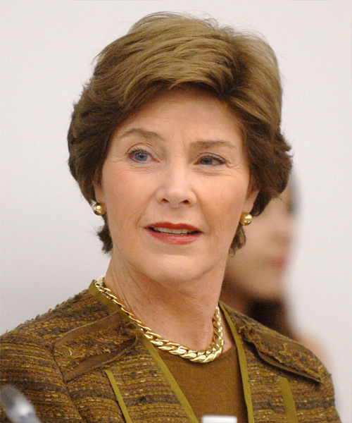 Laura Bush Short Straight Formal    Hairstyle   - Light Brunette Hair Color
