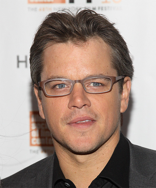 Matt Damon Short Straight Formal   Hairstyle   - Medium Brunette (Chocolate)