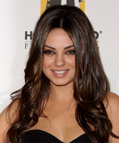 Mila Kunis Long Wavy   Dark Chocolate Brunette   Hairstyle