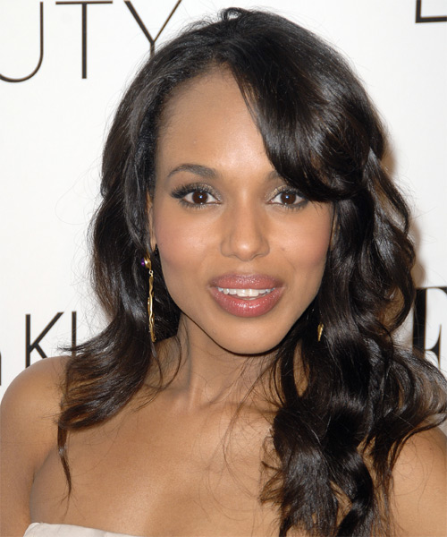 Kerry Washington Long Wavy   Dark Brunette   Hairstyle with Side Swept Bangs