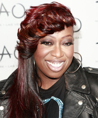 Missy Elliot Long Straight Alternative    Hairstyle with Asymmetrical Bangs  - Dark Red Hair Color