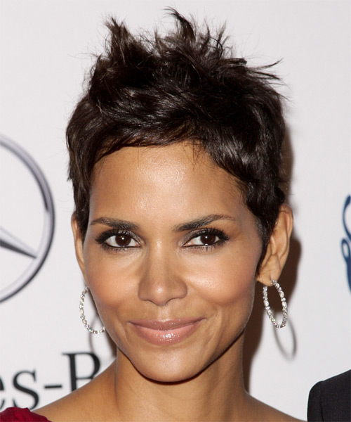 Halle Berry Short Straight Casual   Hairstyle   - Dark Brunette