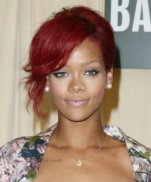 Rihanna  Updo Long Curly Formal  Updo Hairstyle with Side Swept Bangs  - Medium Red