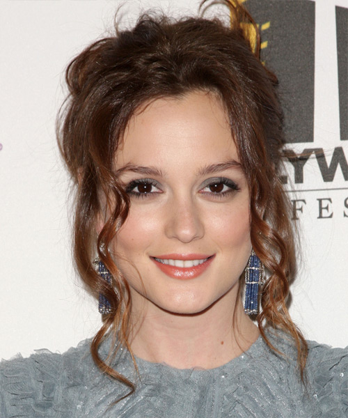 Leighton Meester  Long Curly Casual   Updo Hairstyle   -  Chestnut Brunette Hair Color