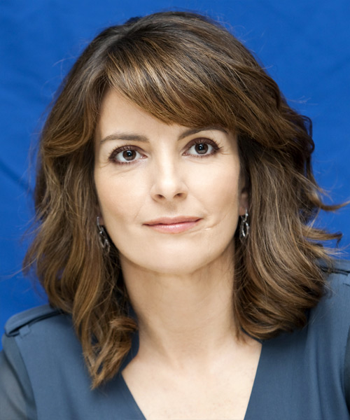 Tina Fey Medium Wavy Casual  Bob  Hairstyle with Side Swept Bangs  -  Brunette Hair Color with  Blonde Highlights