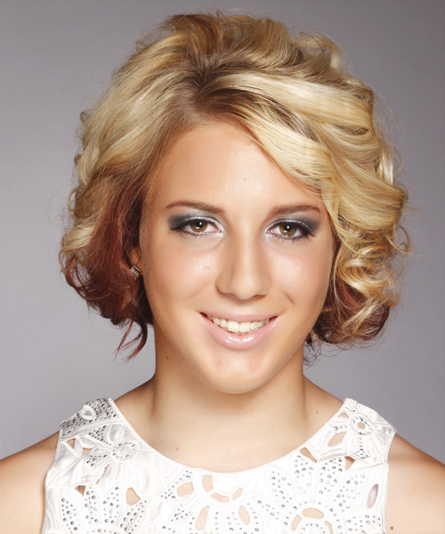 Medium Curly   Light Golden Blonde and Champagne Two-Tone   Hairstyle