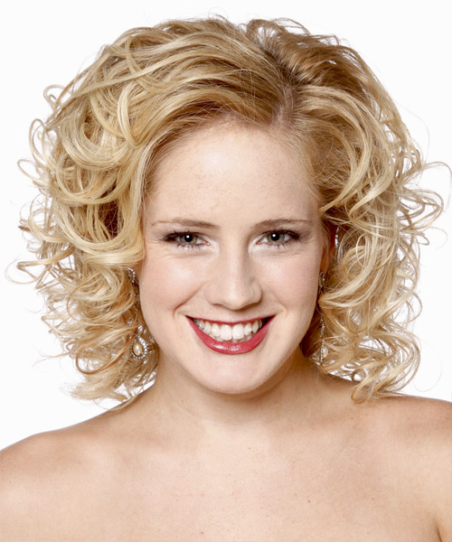 Medium Curly Formal    Hairstyle   - Light Golden Blonde Hair Color