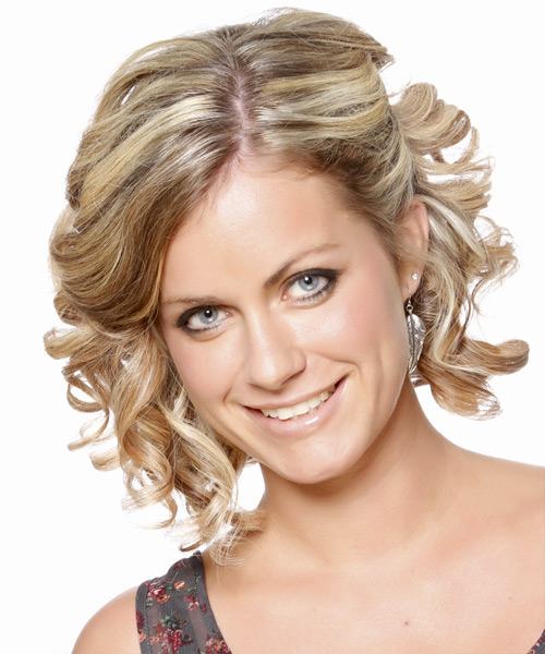 Medium Curly Formal   Updo Hairstyle   -  Caramel Blonde Hair Color