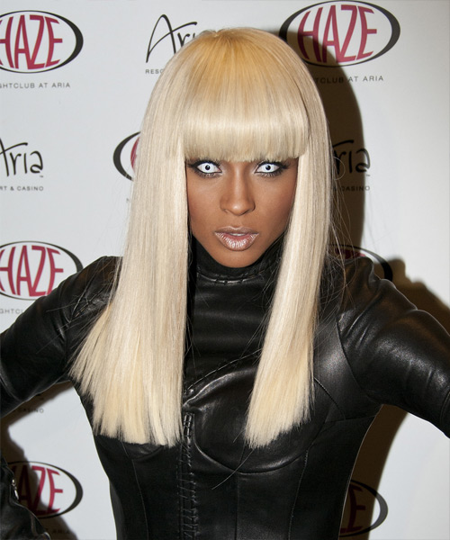 Ciara Long Straight Formal    Hairstyle with Blunt Cut Bangs  - Light Platinum Blonde Hair Color