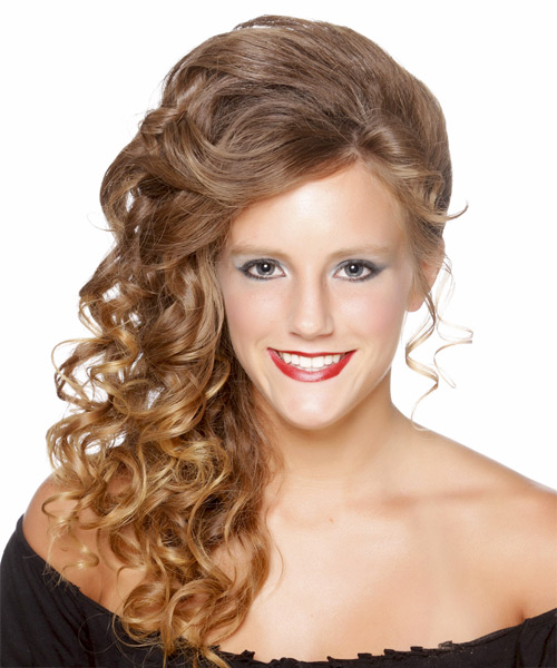 Long Curly Formal   Updo Hairstyle   - Light Golden Brunette Hair Color