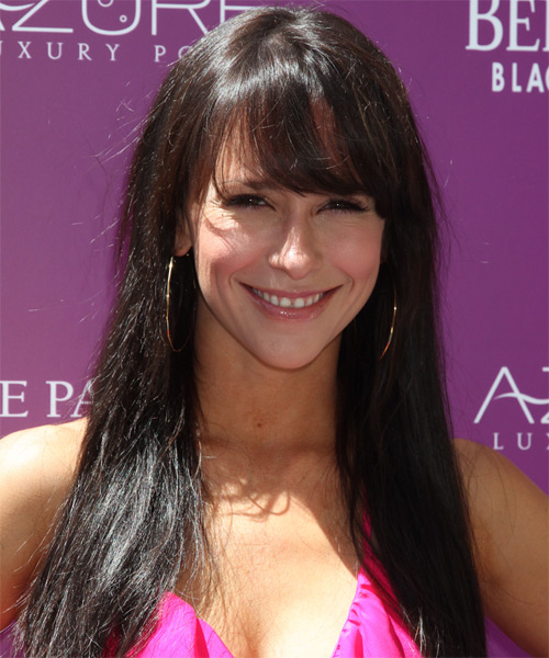 Jennifer Love Hewitt Long Straight Casual    Hairstyle with Side Swept Bangs  - Dark Mocha Brunette Hair Color
