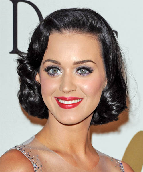 Katy Perry Medium Wavy Formal Wedding  Hairstyle   - Black