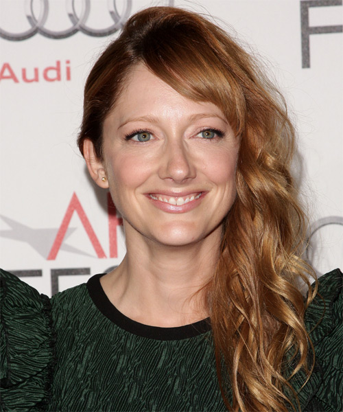 Judy Greer Long Wavy Formal   Hairstyle