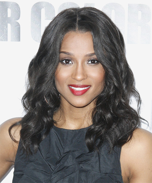 Ciara Medium Wavy Formal    Hairstyle   - Black  Hair Color