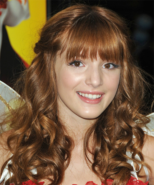 Bella Thorne Half Up Long Curly Casual  Half Up Hairstyle