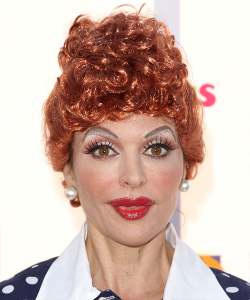 Lisa Rinna  Long Curly Formal   Updo Hairstyle   - Light Red Hair Color