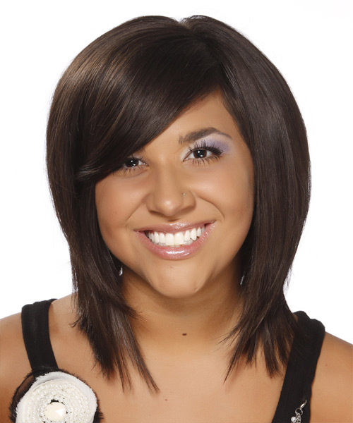 Medium Straight Formal    Hairstyle with Side Swept Bangs  - Dark Chocolate Brunette Hair Color