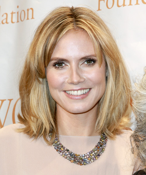 Heidi Klum Medium Straight Casual    Hairstyle   - Medium Caramel Blonde Hair Color with Light Blonde Highlights