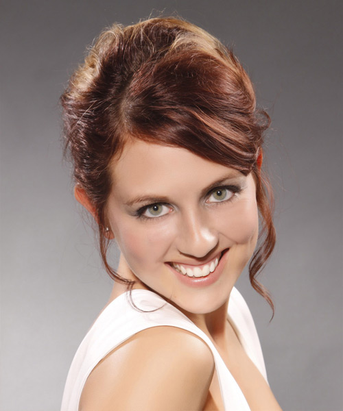 Updo Long Curly Formal  Updo Hairstyle   - Medium Brunette (Burgundy)