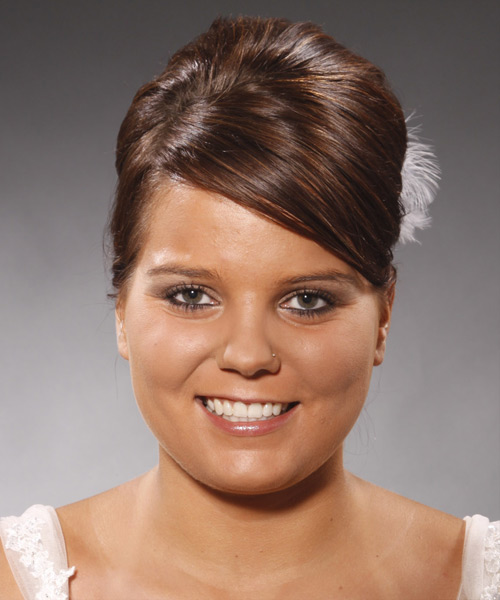 Updo Long Straight Formal Wedding Updo Hairstyle with Side Swept Bangs  (Chocolate)