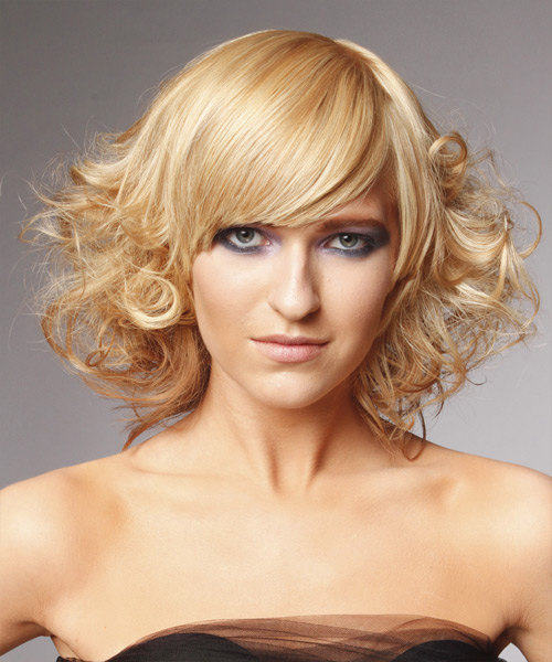 Medium Curly   Light Blonde   Hairstyle with Side Swept Bangs