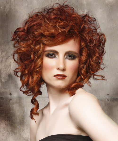 Medium Curly Formal    Hairstyle   - Medium Ginger Red Hair Color