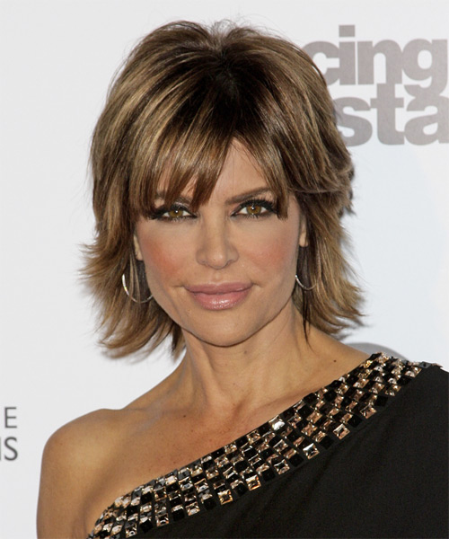 Lisa Rinna Short Straight Formal    Hairstyle with Side Swept Bangs  -  Caramel Brunette Hair Color