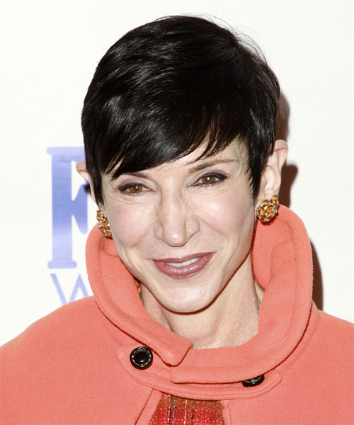 Amy Fine Collins  Short Straight Casual  Pixie  Hairstyle with Side Swept Bangs  - Black  Hair Color