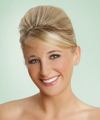 Long Straight Formal   Updo Hairstyle with Side Swept Bangs  - Light Champagne Blonde Hair Color