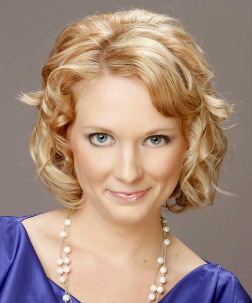 Short Curly Formal    Hairstyle   - Golden Hair Color with Light Blonde Highlights