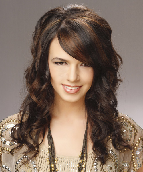 Long Wavy   Dark Chestnut Brunette   Hairstyle with Side Swept Bangs