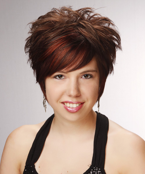 Short Straight Formal Layered Pixie  Hairstyle with Side Swept Bangs  -  Chocolate Brunette Hair Color