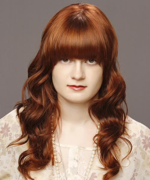 Medium Wavy   Light Auburn Brunette   Hairstyle with Blunt Cut Bangs