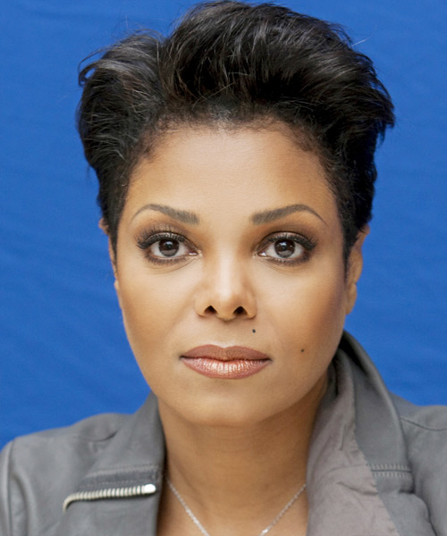 Janet Jackson  Short Straight Casual  Pixie  Hairstyle   - Black  Hair Color