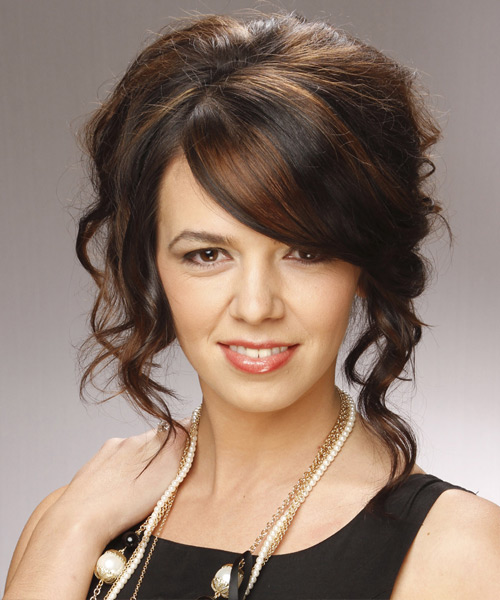 Long Curly Formal   Updo Hairstyle with Side Swept Bangs  - Dark Chocolate Brunette and Black Two-Tone Hair Color
