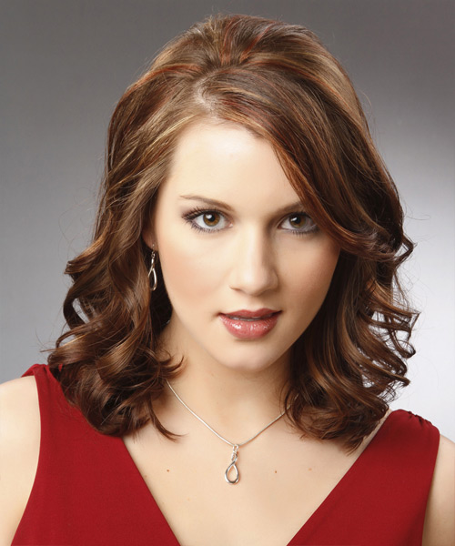 Medium Wavy Formal    Hairstyle   -  Chocolate Brunette Hair Color