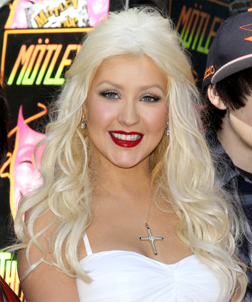Christina Aguilera Half Up Long Curly Casual  Half Up Hairstyle