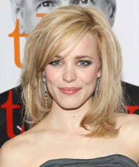 Rachel McAdams Medium Straight Formal    Hairstyle with Side Swept Bangs  - Light Blonde Hair Color