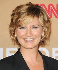 Jennifer Nettles Short Wavy Formal    Hairstyle with Side Swept Bangs  -  Golden Blonde Hair Color