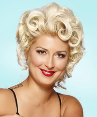 Medium Curly Formal   Updo Hairstyle   - Light Platinum Blonde Hair Color