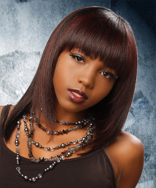 Medium Straight Formal    Hairstyle with Blunt Cut Bangs  - Dark Brunette and Dark Red Two-Tone Hair Color