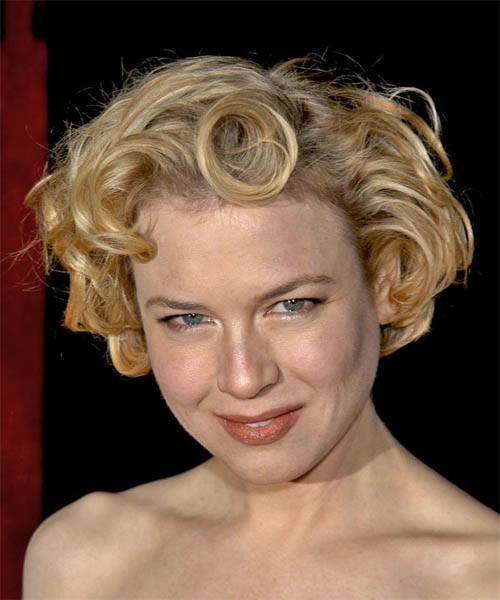 Renee Zellweger Short Wavy Formal   Hairstyle