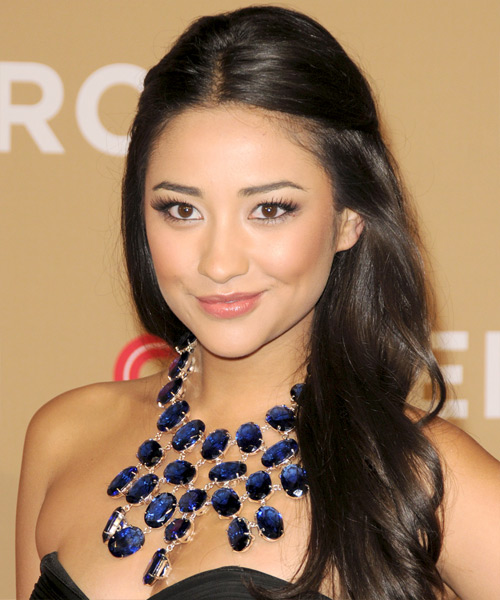 Shay Mitchell Half Up Long Curly Casual  Half Up Hairstyle