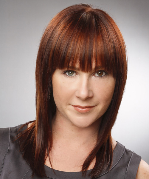 Medium Straight Casual    Hairstyle with Blunt Cut Bangs  - Orange  Hair Color